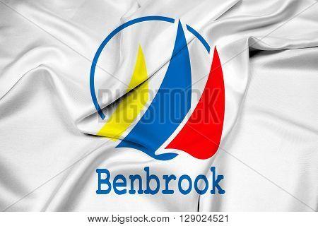 Waving Flag of Benbrook Texas, with beautiful satin background.
