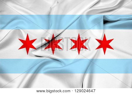Waving Flag of Chicago Illinois, with beautiful satin background.