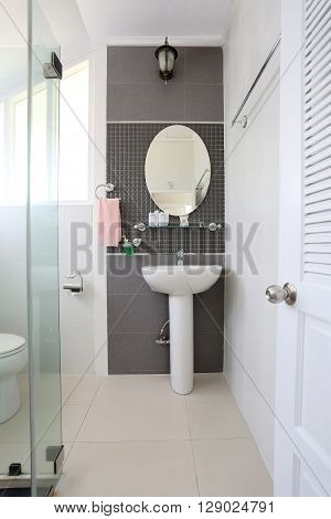 White bathroom of interior and have sanitary ware in the house.