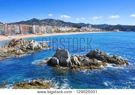 panoramic view of the Platja de Lloret beach in Lloret de Mar, in the Costa Brava, Spain