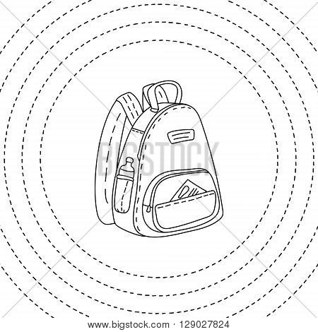 Black and white backpack hand drawn, vector illustration background for banner, ad