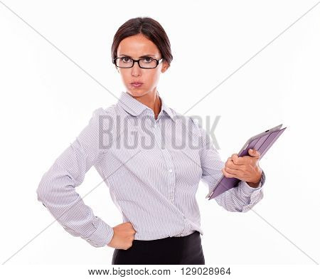 Disappointed Brunette Businesswoman With A Tablet