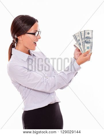 Happy Smiling Brunette Businesswoman With Money