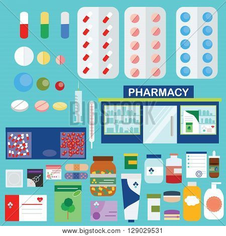 Vector pharmacy drugstore set. Medical store pills drugs and other medical objects design and infographic elements big set in flat style