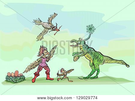 Birds attack green dinosaur. Green lizard stole the egg