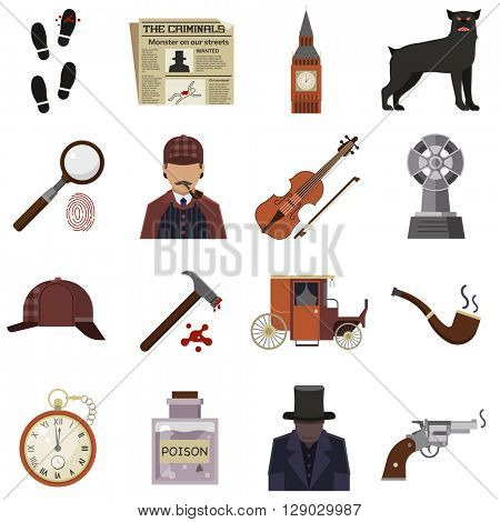 Vector detective crime icons set magnifier and handprint, knife in hand, smoking pipe, detective, crime scene, revolver, Detective crime, detective character design. Detective crime icon set element.
