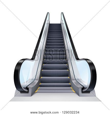 Single escalator on white background realistic isolated vector illustration