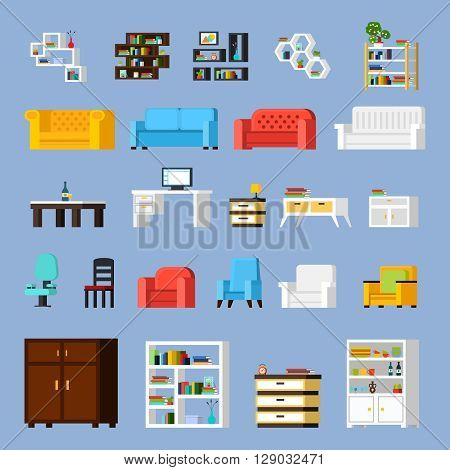 Icon set of different furniture elements for living room cabinet or hall orthogonal isolated vector illustration