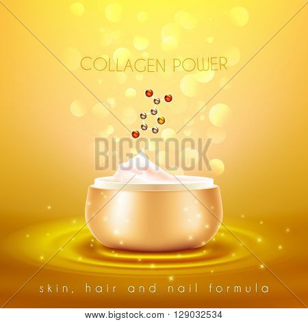 Collagen power moisturizing face skin cream with anti-aging effect advertisement with golden background poster vector illustration