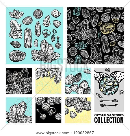 Crystals And Stones Sketch Concept Set. Crystals And Stones Decorative Objects. Crystals And Stones Vector Illustration. Crystals Hand Drawn Collection. Crystals Design Symbols.