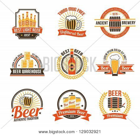 Brewery Logo Set. Brewery Labels Set.  Brewery Emblems Set. Brewery Vector Illustration. Brewery Flat Symbols. Brewery Design Set.