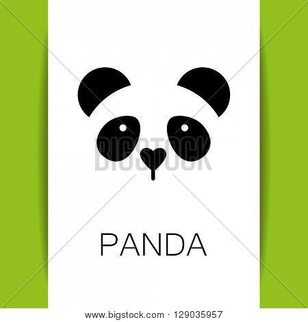 Panda logo. Isolated panda head on white background.  Identity template. Asian bear mascot idea for logo, emblem, symbol, icon. Panda head silhouette. Vector illustration.