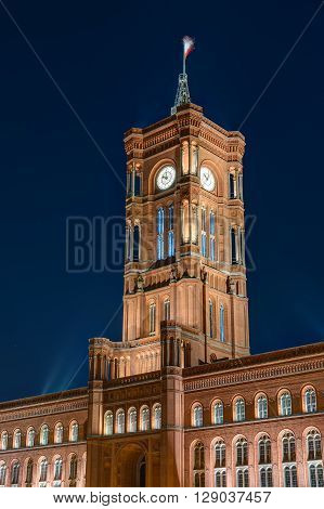 The tower of the townhall in Berlin at night