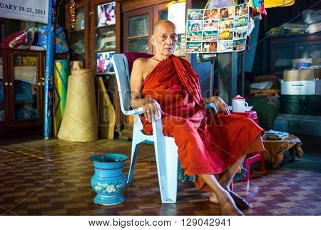 Bago Myanmar - January 11 2012: The rector monk of a monastry on the outskirts of the city