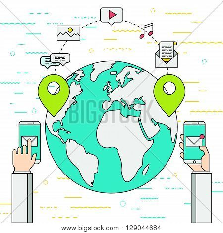 Vector illustration represents communication process between two persons who located in different points of the planet and sharing media with each other. Flat, thin line style , EPS 10.