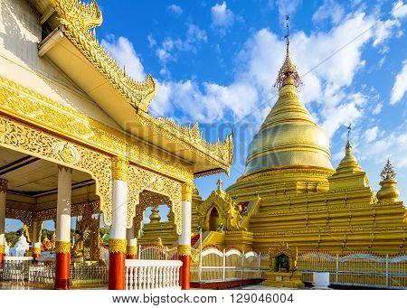 Myanmar Mandalay the Shwenandaw Kyaung golden pagoda sanctuary. poster