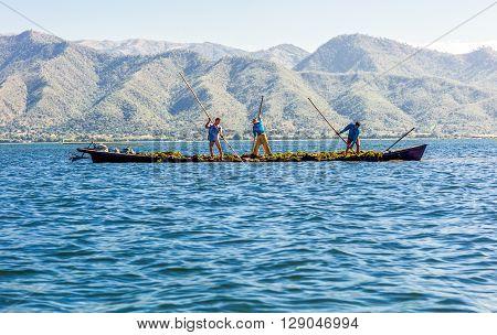 Inla Lake. Myanmar - January 14 2012: Shan State fishermen on the lake.