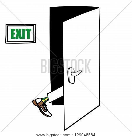 Exit door with the leg of a man in formal shoes seen entering and about to disappear as part of his Exit Strategy