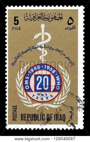 IRAQ - CIRCA 1968 : Cancelled postage stamp printed by Iraq, that shows World Health Organization Emblem.