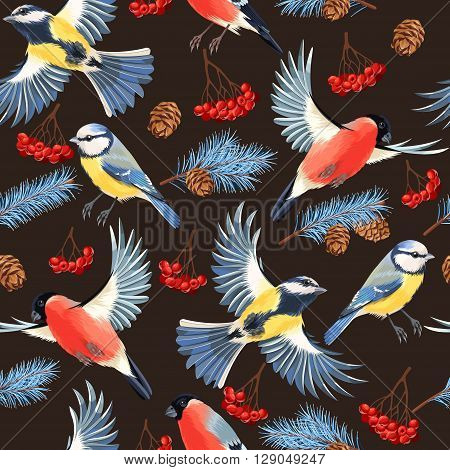 Tomtit, bullfinch, rowan and spruce vector seamless background poster