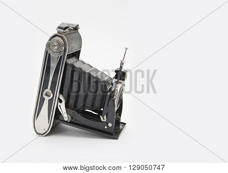 Black Vintage Camera On White Background