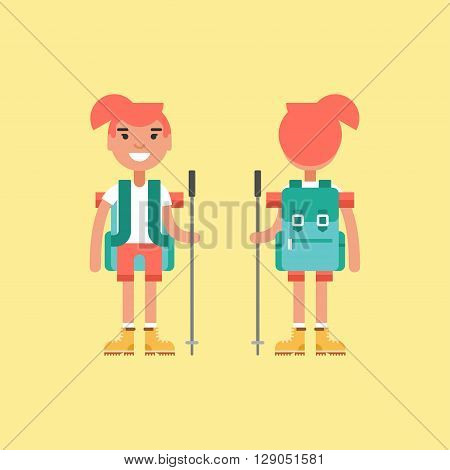 Hiking Concept. Smiling Girl with Backpack and Stick for Hiking. Front and Back View. Flat Style Illustration