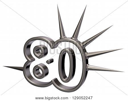 number eighty with prickles on white background - 3d illustration