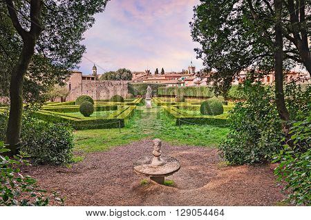 "the public garden Horti Leonini, an ancient ""giardino all' italiana"" typical classic Italian garden based on symmetry and perfect geometry in San Quirico d'Orcia, Siena, Tuscany, Italy poster"