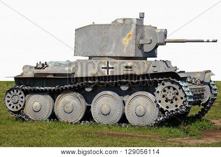 A light German tank PzKpfW 38t took part in the World war II on the side of Nazi Germany