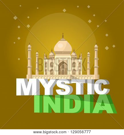 High quality, detailed most famous World landmark. Vector illustration of Taj Mahal an ancient Palace in India. Travel vector. Travel illustration. Travel landmarks. Happy travel