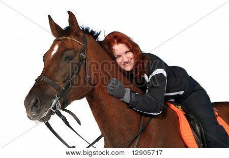 Smiling Girl zu einem Pferd