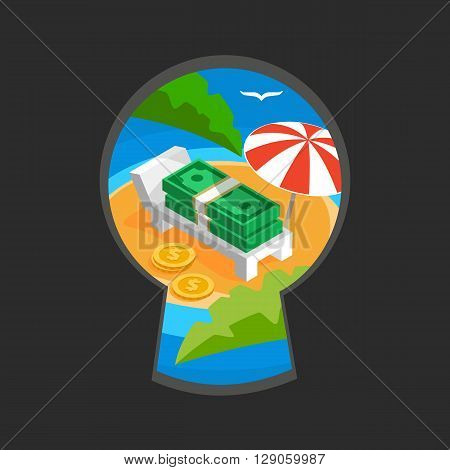 Money in keyhole color flat vector illustration, teaser spying through the key slit, money haven with umbrella on ocean beach with palm leaves, money paradise vector sign of offshore zone