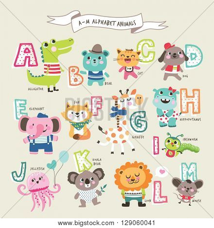 Cute cartoon animals alphabet from A to M