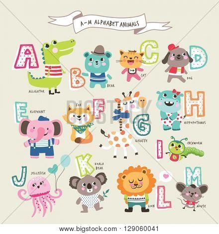 Cute cartoon animals alphabet from A to M