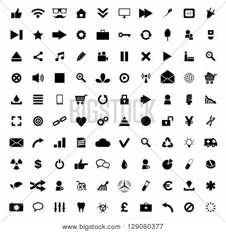 Set of 100 Quality icon. Fire Service icons , Medical icons , Media icons , Money icons , Food icons , Mobile icons , Police icons , Web icons , Camping icons, butterfly icons snowflakes icon.