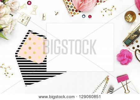 Header website or Hero website, Table view office items, white background mock up, woman desk. Polka gold pattern and black stripe. flat lay