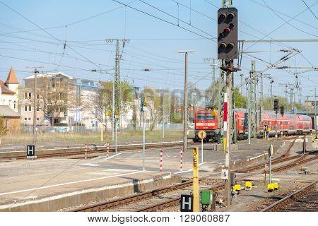 NEUBRANDENBURG / GERMANY - MAY 5 2016: german regional express arrives on the train station on may 5 2016 Neubrandenburg Germany.