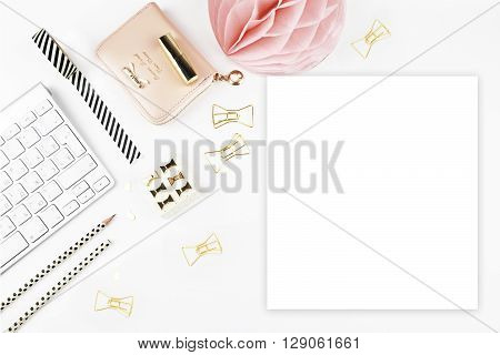 Table view office items, white background mock up, woman desk. Flat lay.