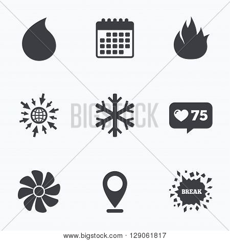 Calendar, like counter and go to web icons. HVAC icons. Heating, ventilating and air conditioning symbols. Water supply. Climate control technology signs. Location pointer.