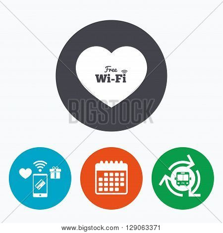 Love Free wifi sign. Wifi symbol. Wireless Network icon. Wifi zone. Mobile payments, calendar and wifi icons. Bus shuttle.