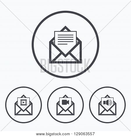 Mail envelope icons. Message document symbols. Video and Audio voice message signs. Icons in circles.