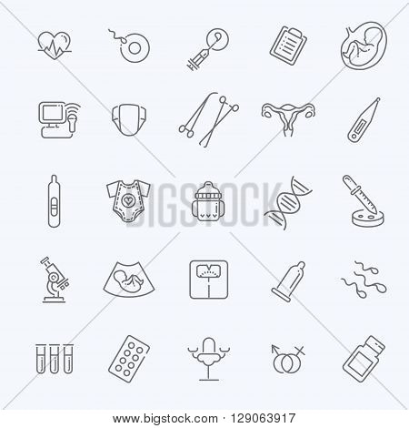 Childbirth and motherhood vector outline icons set