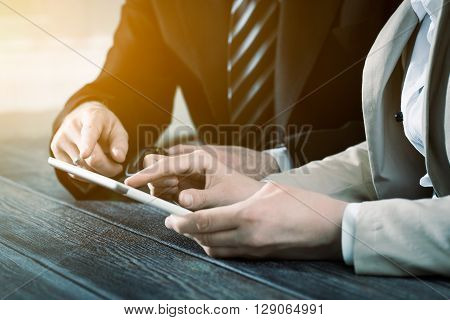 business meeting executive consulting review career teamwork brainstorm tablet - stock image
