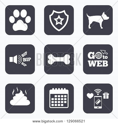 Mobile payments, wifi and calendar icons. Pets icons. Dog paw and feces signs. Clean up after pets. Pets food. Go to web symbol.