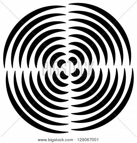 Concentric Circle(s) Cut In Quarter - Abstract Monochrome Radiating Element