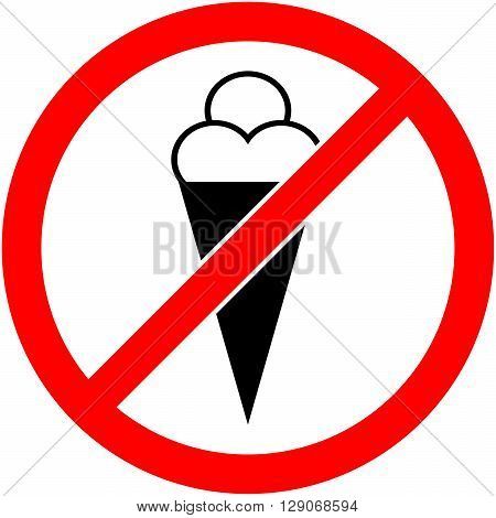 No ice cream food and eating prohibited symbol. Sign indicating the prohibition or rule. Warning and forbidden. Flat design. Vector illustration. Easy to use and edit. EPS10.