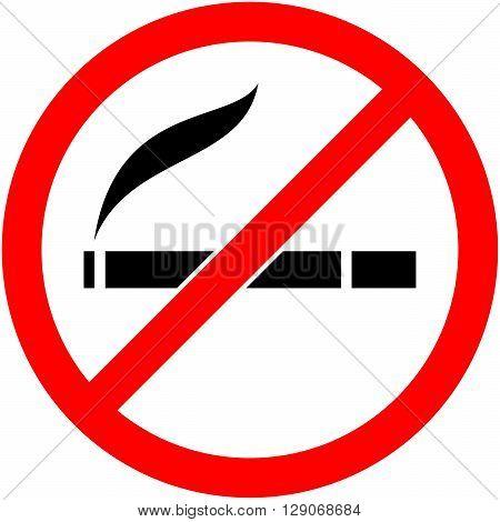 No Smoking, Cigarette Prohibited Symbol. Vector.