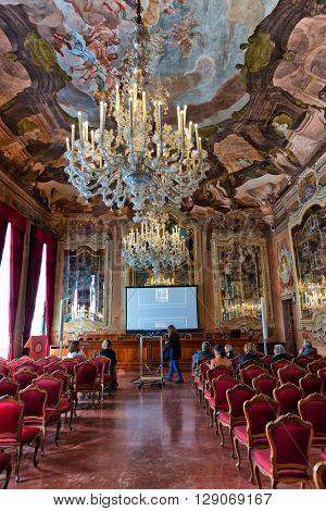 VENICE, ITALY - 17 OCTOBER 2015:Interior of Aula Magna Silvio Trentin Room in Palazzo Dolfin - Ornate Room Decorated with Tiepolo Fresco Paintings. October 17 2015.