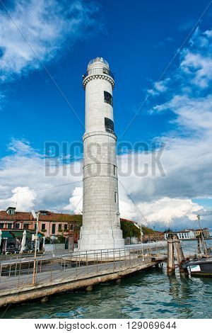 VENICE, ITALY - 17 OCTOBER 2015: Lighthouse on Murano Island near Venice, Italy. October 17 2015.