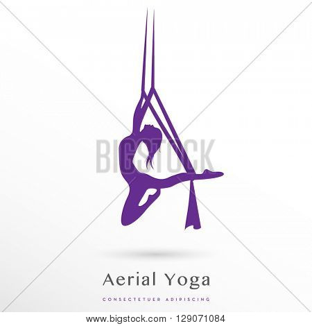 aerial yoga vector icon / logo on white background